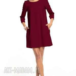 sukienki sukienka marszczona na plecach z kieszeniami, t326, burgundowa