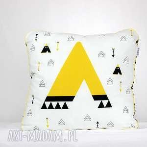 poduszka tipi 46x46 - poduszka, dekoracja, pościel, tipi, chłopiec, minky