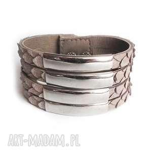 handmade bransoletka skórzana szarobeżowa wężowa