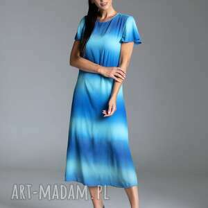 taravio długa letnia sukienka trapezowa z szyfonu w kolorze błękitno-turkusowym