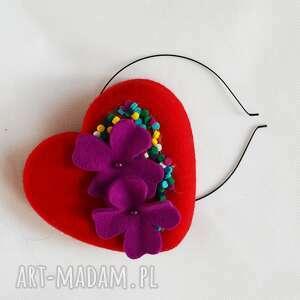 handmade ozdoby do włosów czerwone serce