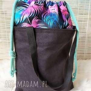 wyjątkowy prezent, torba z kominem nubuku, torba, torebka, plażowa, zakupowa