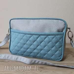 mała torba miejska - niebieski i szary, elegancka, nowoczesna, wizytowa, pakowna