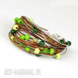 sznurkowa bransoletka z drewnianymi koralami c581, sznurkow