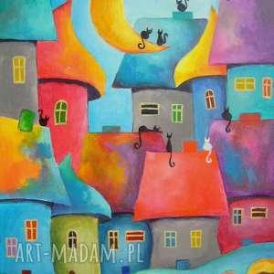 obrazy obraz na płótnie - bajkowe miasteczko 30/40 cm, miasteczko, obraz, bajka, koty