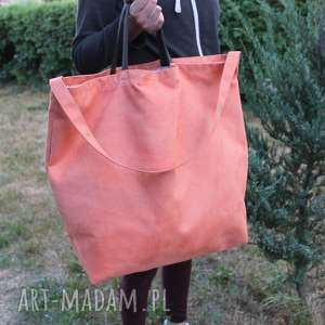 hand made na ramię big bag - brzoskwiniowy łososiowy
