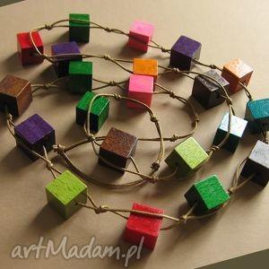 multicolor cube - korale, naszyjnik, długi, kostka