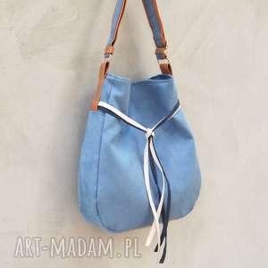 hand made na ramię simply bag - duża torba worek - niebieska