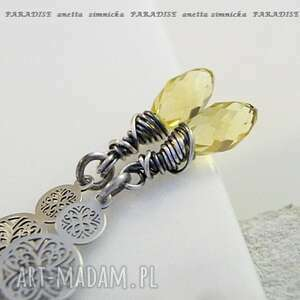 srebro kolczyki kryształy lemon w srebrze