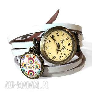 egginegg zegarek bransoletka folk - z białym paskiem, skórzany zegarek