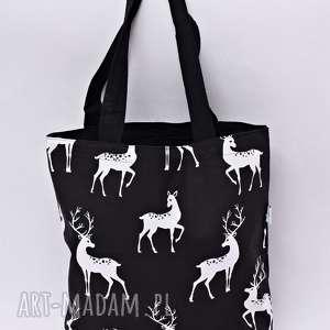 hand-made torba na zakupy shopperka jelenie czarne