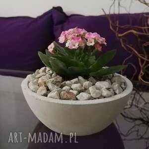 hand made dekoracje betonowa doniczka na kwiaty, okrągła miska przekąski