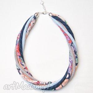 handmade naszyjniki wiosenny naszyjnik z kolorowych tkanin