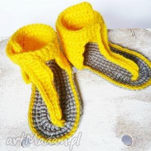 Szydełkowe buciki japonki żółte, buciki, japonki, sandałki