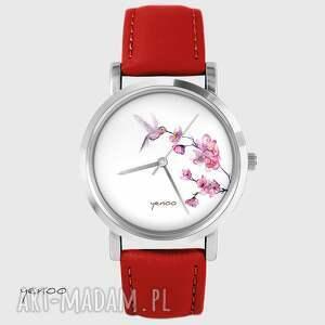 Prezent Zegarek - Koliber - czerwony, skórzany, bransoletka,