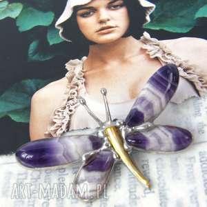 hand-made broszki broszka i wisior (2 w 1): ważka cytrynowo-fioletowa/ametyst
