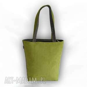 ręcznie robione na ramię torba bouble - duża szaro limonkowa