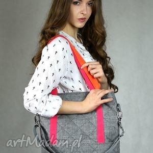 Szara prostokątna torba a4 z kolorowymi rączkami torebki bags