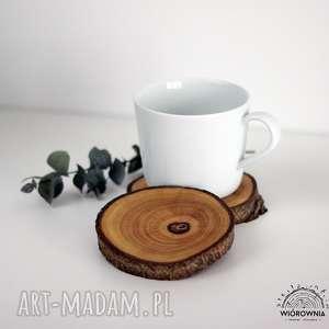 handmade podkładki komplet podkładek pod kubek - orzech włoski