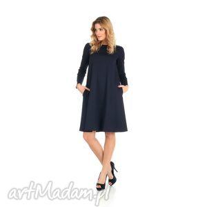 2-sukienka rozkloszowana granatowa,długa, lalu, sukienka, dzianina,