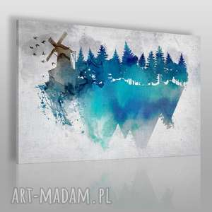 obraz na płótnie - wiatrak akwarela 100x70 cm 29101/100x70, wiatrak, las