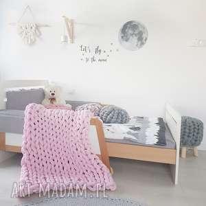 rĘcznie pleciony koc baweŁniany knot blanket 120x90 baby pink, blanket, knit