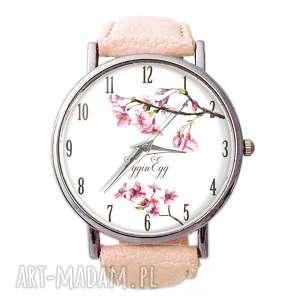 ręczne wykonanie zegarki kwiat wiśni - skórzany zegarek z dużą tarczą