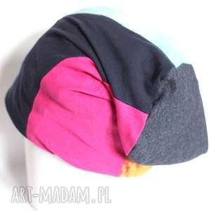 czapka smerfetka patchworkowa dzianina farbowana, czapka, etno, patchwork