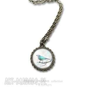 medalion, naszyjnik - turkusowy ptaszek mały antyczny brąz
