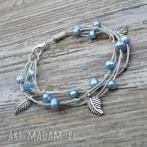 hand-made perły i liście ii - bransoletka lniana