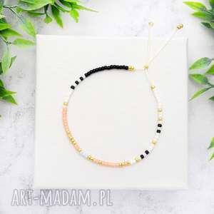bransoletka minimal dots - peachy, bransoletki, koralikowe, minimalistyczne
