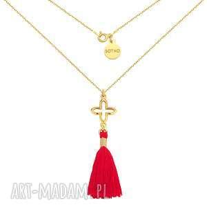 Złoty naszyjnik z rozetką i chwostem - ,naszyjnik,żółte,złoto,rozetka,chwost,modowy,