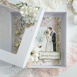 Kartka na ślub z liliami w pudełku scrapbooking kartki made by