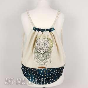 plecak worek z niedźwiedźiem - ,plecak,worek,miś,las,góry,haft,