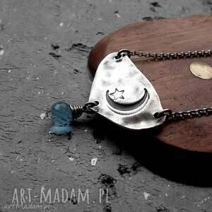 naszyjnik noc- srebro i kwarc niebieski - srebro, księzyc, gwiazdka, niebieski