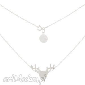 sotho srebrny modowy naszyjnik z jeleniem jeleń srebro 925, łańcuszkowy