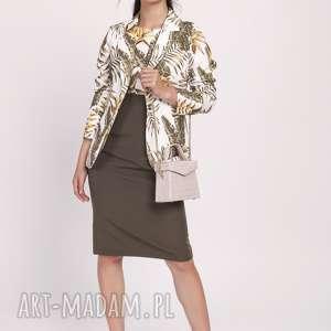 kobieca sukienka o klasycznym kroju, suk170 liście khaki, na wesele, klasyczna