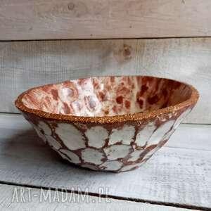 ręcznie zrobione ceramika duża rzeźbiona misa wiejska w brązie