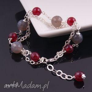 bransoletka z szarych i bordowych agatów, srebrna