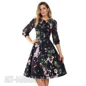 Sukienka EBONY Midi Aurelia, kropki, kwiaty, wiżanie, midi, kokarda, rozkloszowana