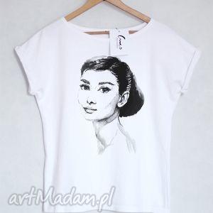 AUDREY koszulka bawełniana biała S/M, koszulka, tshirt, bawełniana, nadruk, audrey