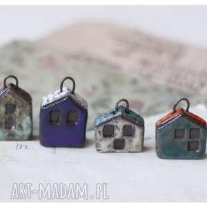 handmade ceramika zestaw 6 domków z zaczepami