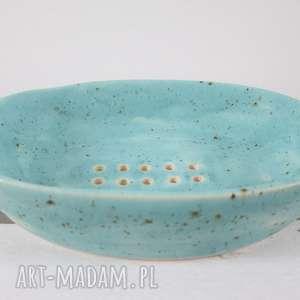 mydelniczka turkusowa z drobinkami, mydelniczka-ceramika, ręcznie-wykonana