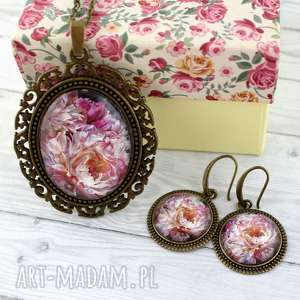 wyjątkowy prezent, komplet boho flowers, komplet, medalion, boho, romantyczny, kwiaty
