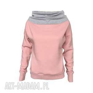 Różowa bluza z szarym kominem, różowa-bluza, pudrowy-róż, brudny-róż
