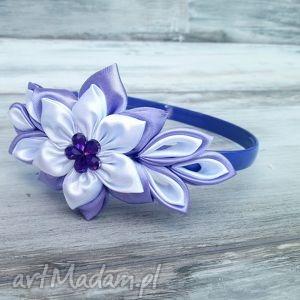 fioletowa opaska dla dziewczynki - białe ozdoby do włosów