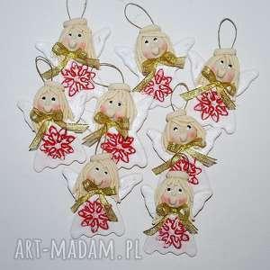złote kokardy aniołki, anioły, dekoracja, prezent, ozdoba, święta, choinka