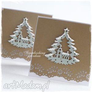 oczekiwanie - kartka bożonarodzeniowa, święta, kośćiół, śnieg, choinka, drzewko