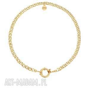 złoty masywny łańcuch z ozdobnym zapięciem sotho, musthave