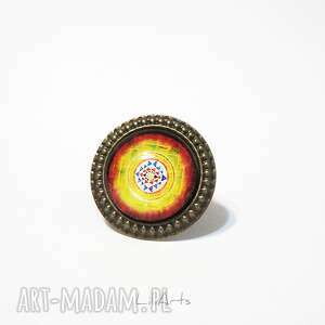 Pierścionek - shri yantra antyczny brąz liliarts pierścionek